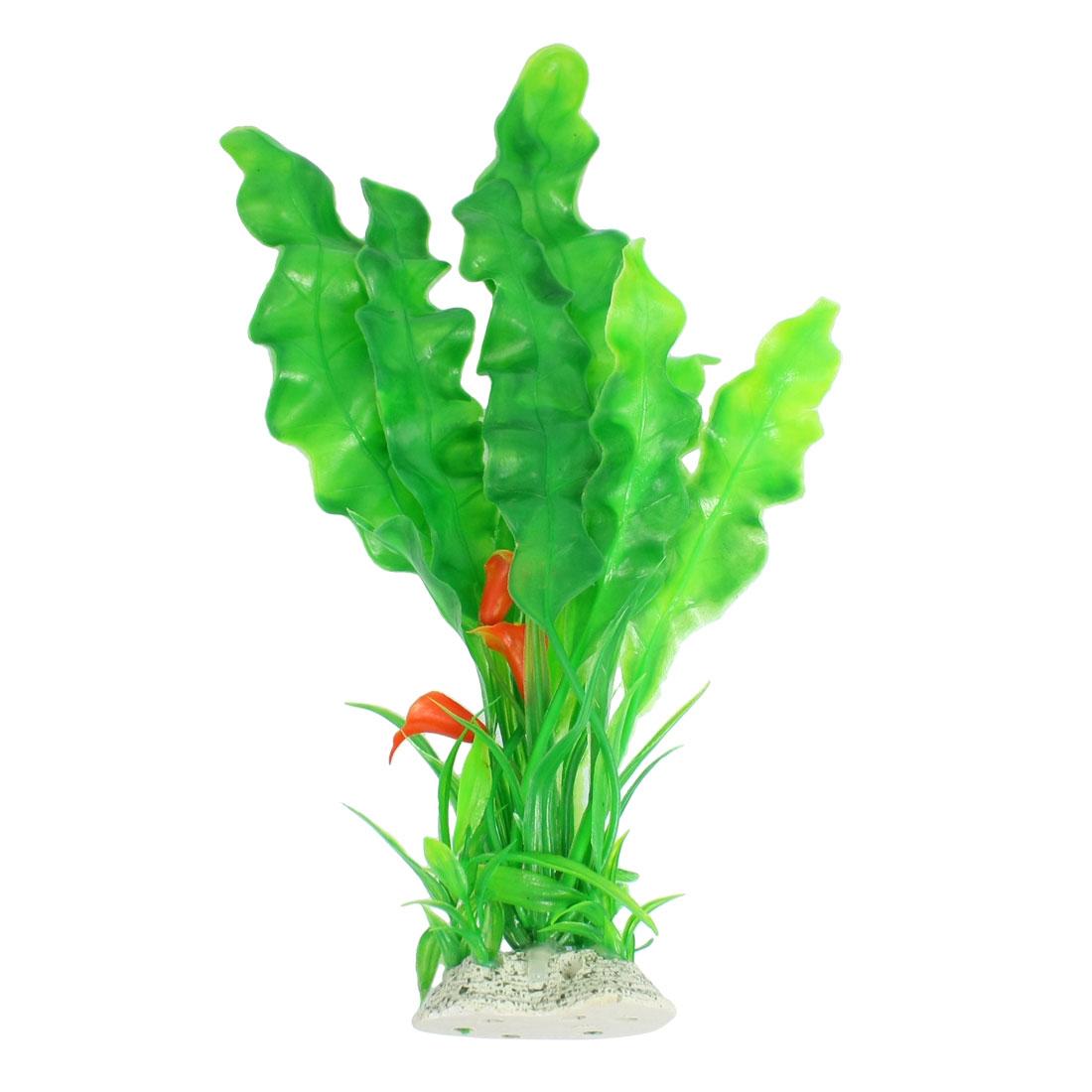 """11.2"""" High Artificial Plastic Fish Aquarium Plant Green Orange"""
