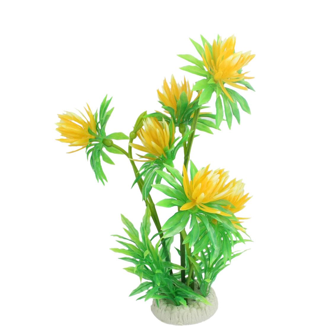 """11"""" Height Round Ceramic Base Green Yellow Plastic Fish Aquarium Ornament Plant"""