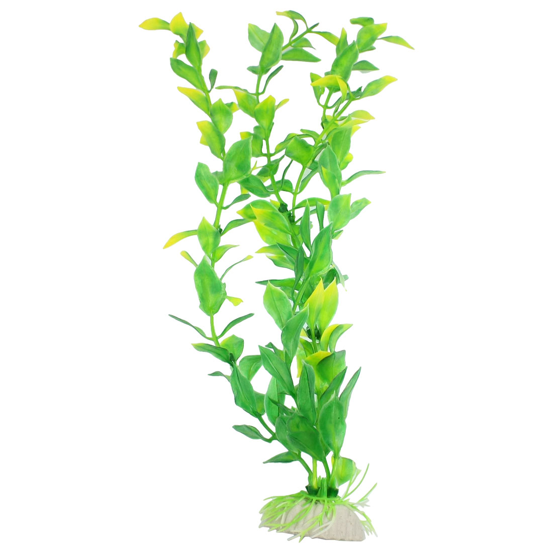 "13"" Height Plastic Leaves Fish Aquarium Ornament Plant Green Yellow"