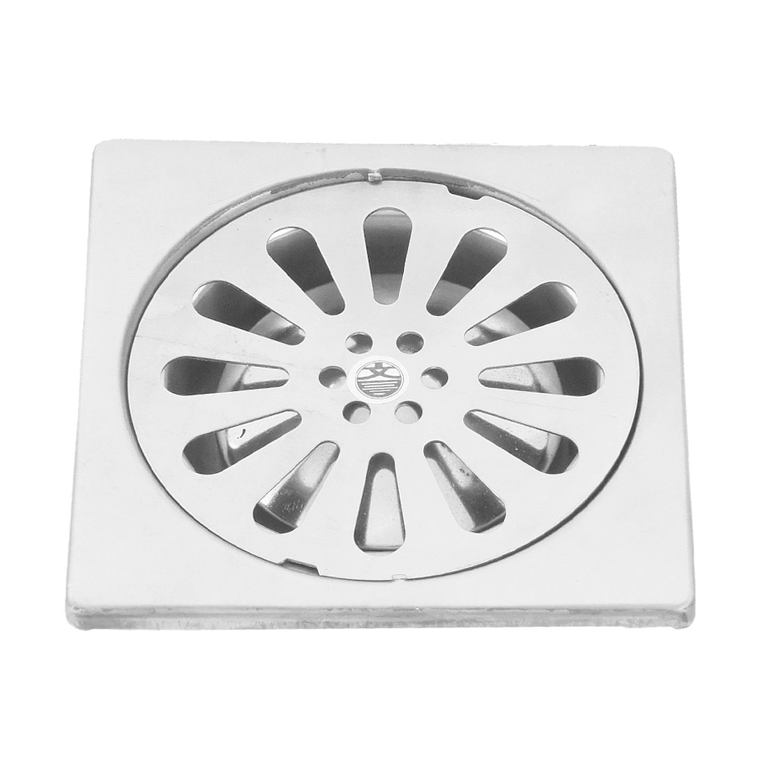 "Bathroom 4"" Silver Tone Stainless Steel Square Sink Floor Drain"