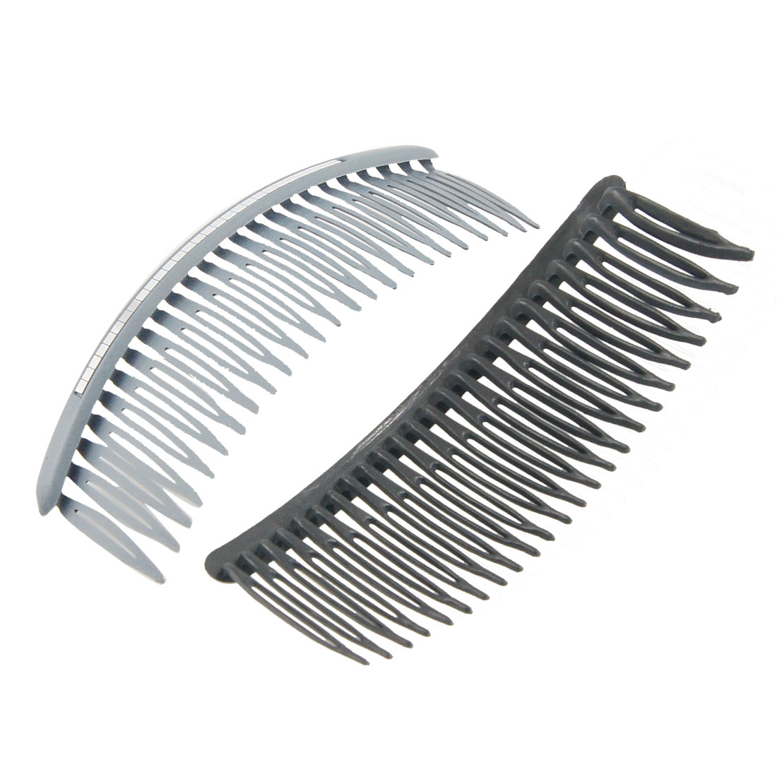 2 Pcs Gray Row Shaped Sheet Inlaid Plastic Comb Hair Pin Clip for Women