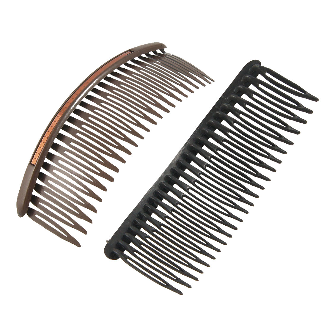 Coffee Color Black Glittery Sheet Inlaid Plastic Comb Hair Pin Clip 2 Pcs