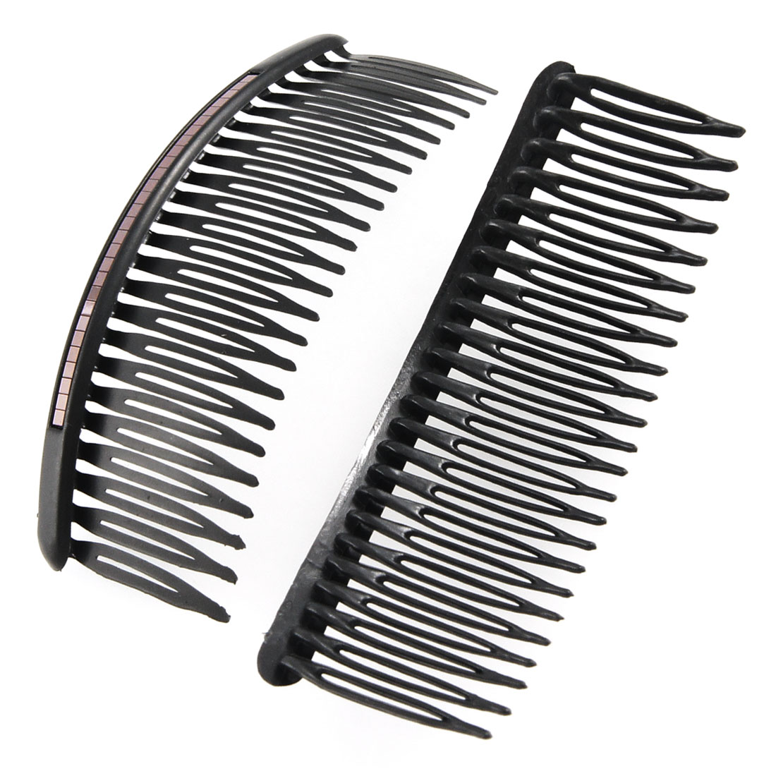 2 Pcs Black Glittery Sheet Inlaid Plastic Comb Hair Pin Clip for Women