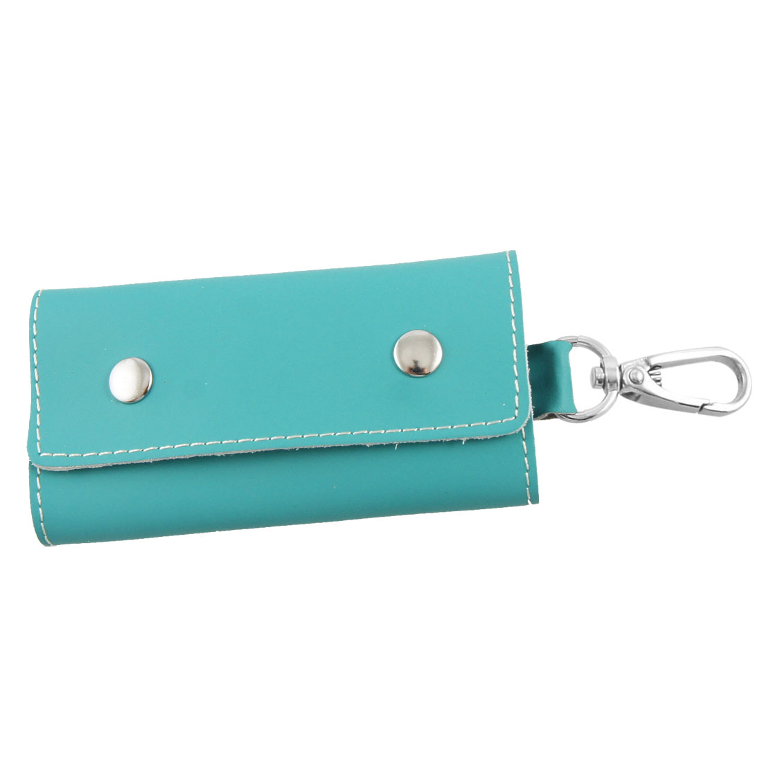 Turquoise Green Faux Leather White Stitching Car Keys Bag Holder Pouch
