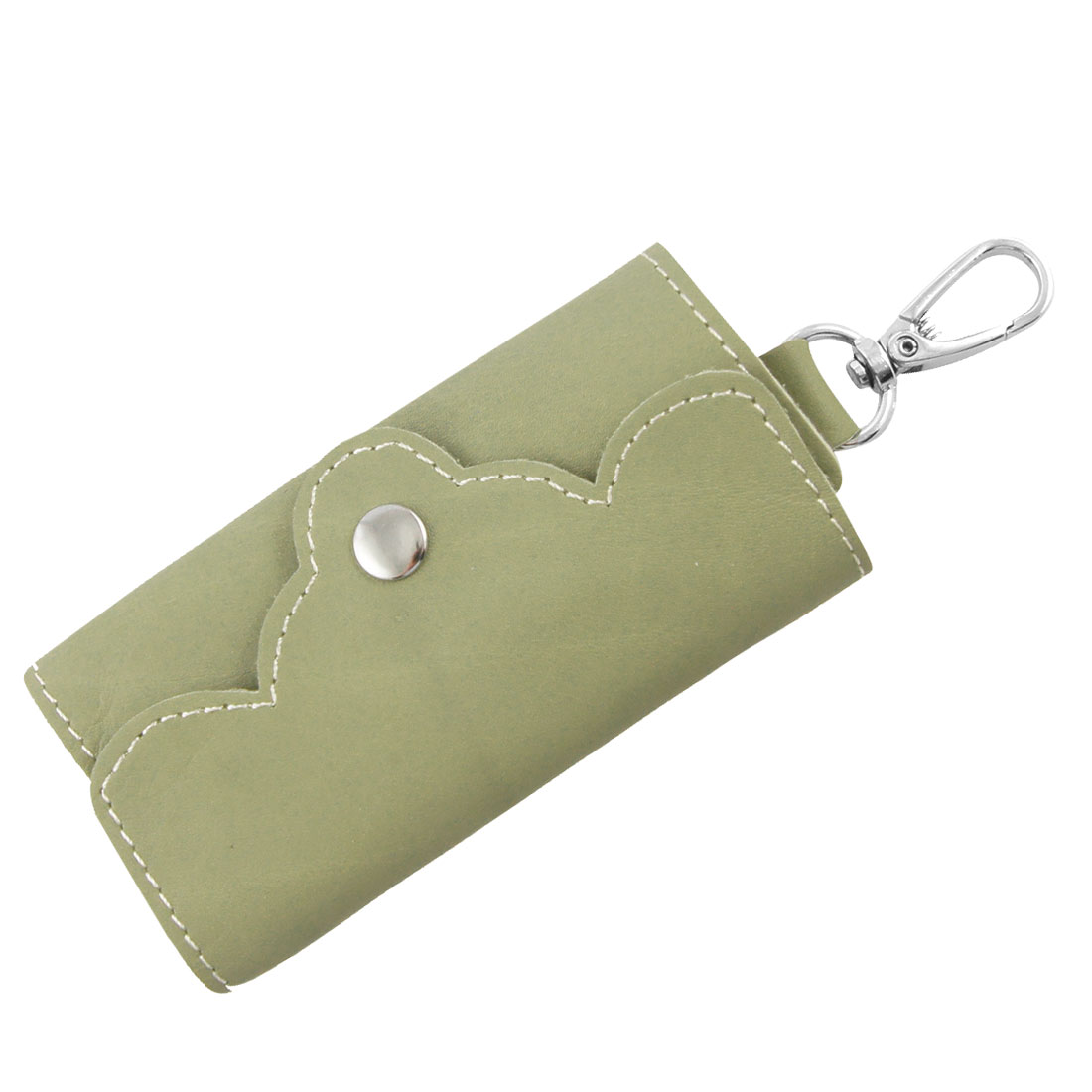 Multi Metal Hooks Inner Pale Green Faux Leather Key Holder Bag for Ladies