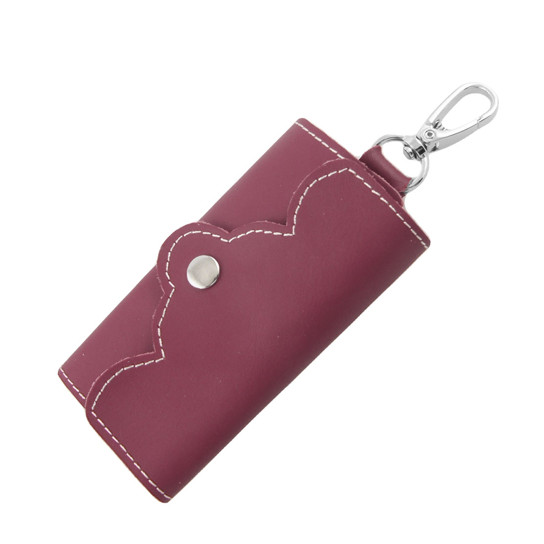 Press Stud Dark Red Faux Leather Key Holder Bag for Ladies