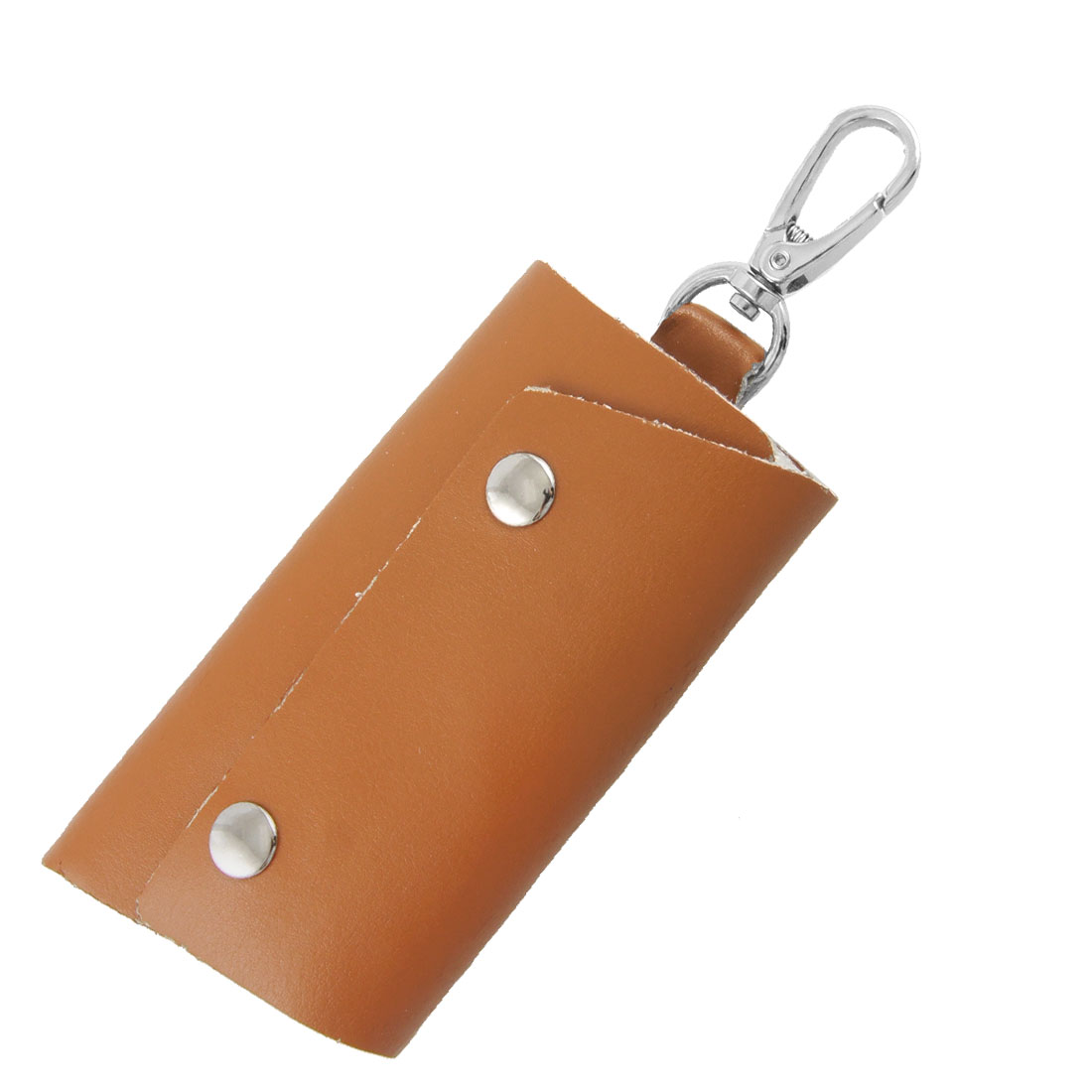 Brown Faux Leather Cover Foldable Car Keys Holder Bag Pouch