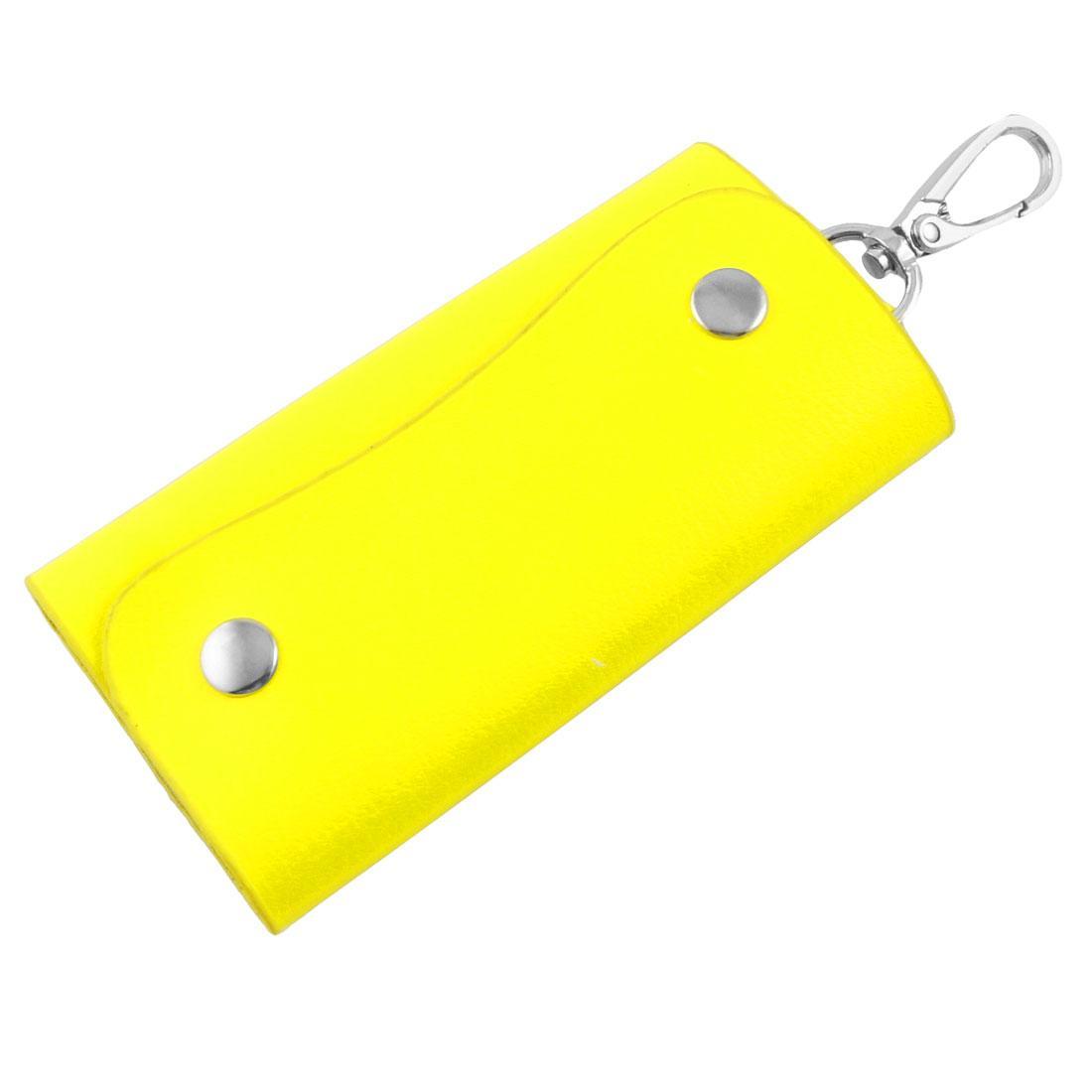 Yellow Faux Leather 5 Hooks Car Keys Keyring Bag Holder Case