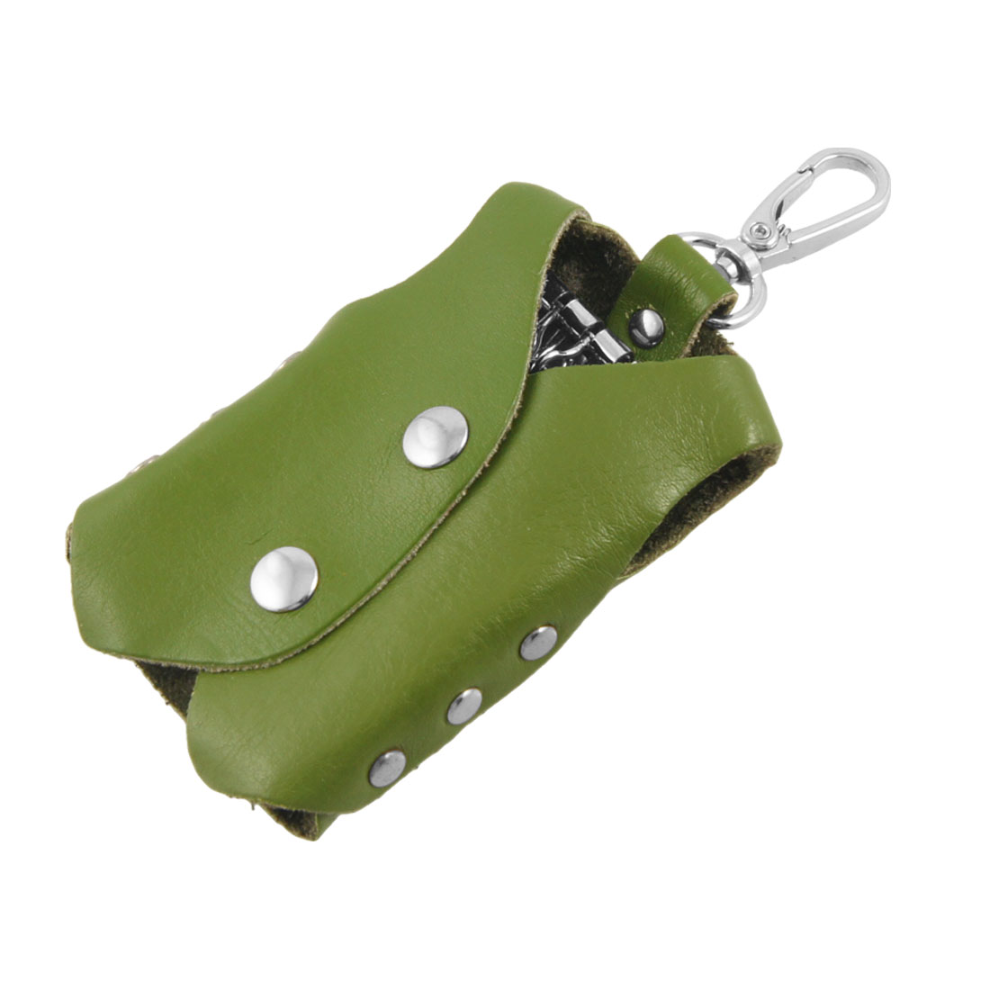 Olive Green Clothes Shape Faux Leather Cover Keychain Keyring Holder Bag Case