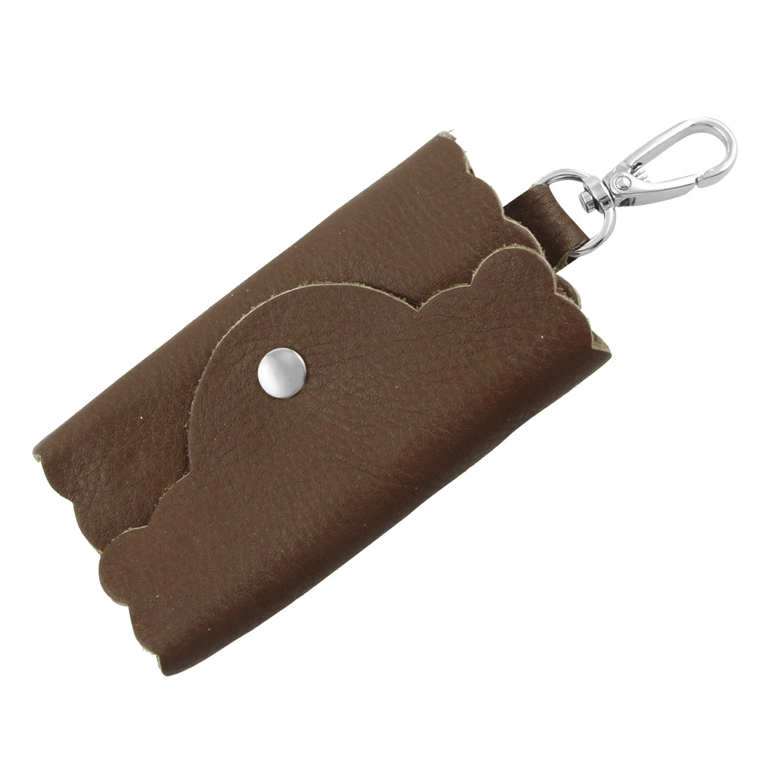 Brown Faux Leather Lychee Pattern Keys Keyring Bag Holder Case
