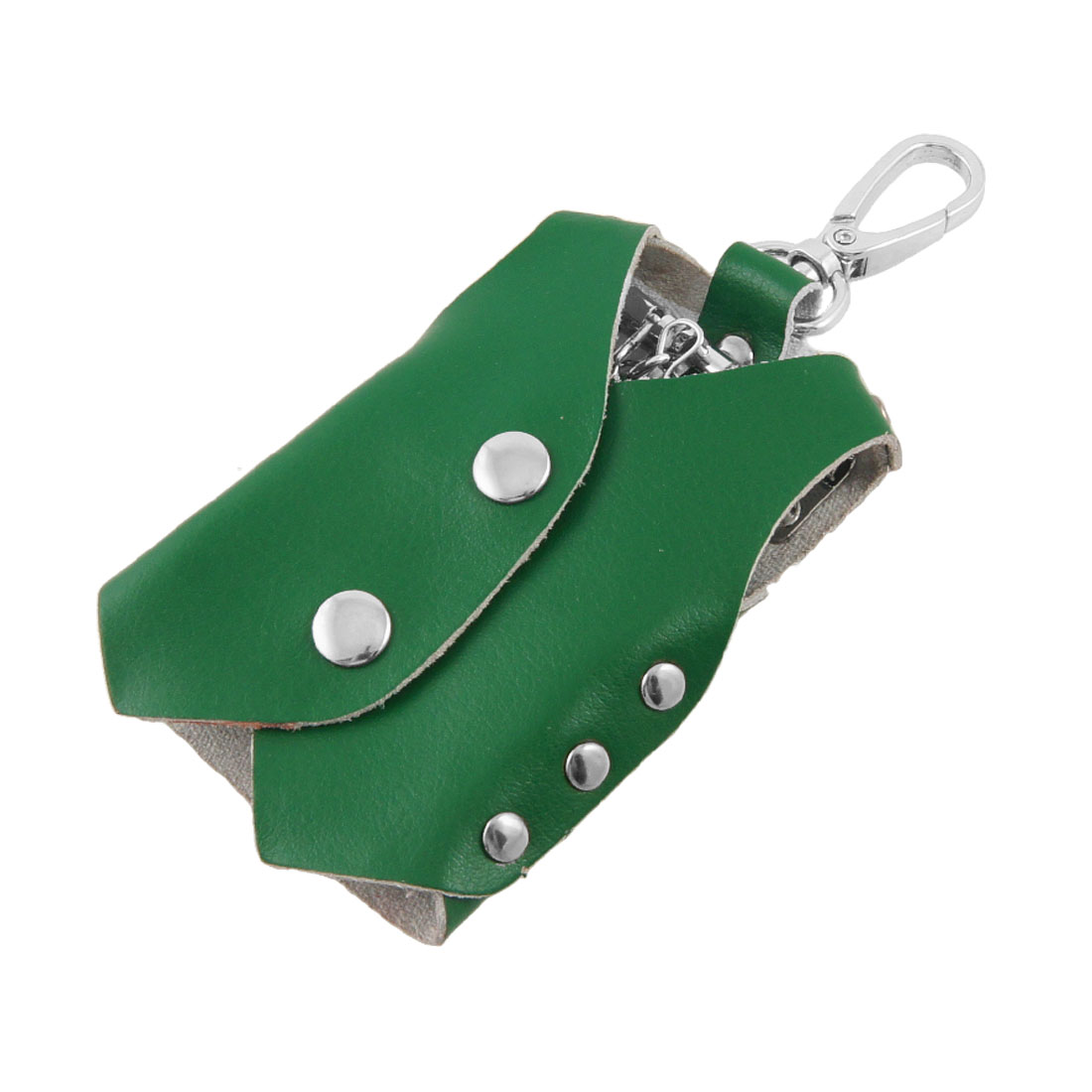 Green Clothes Shape Faux Leather Cover Keychain Keyring Holder Bag Case