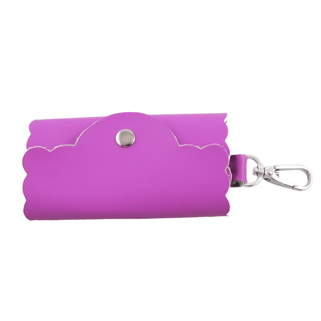 Fuchsia Faux Leather Cover Car Keys Keyring Bag Holder Case