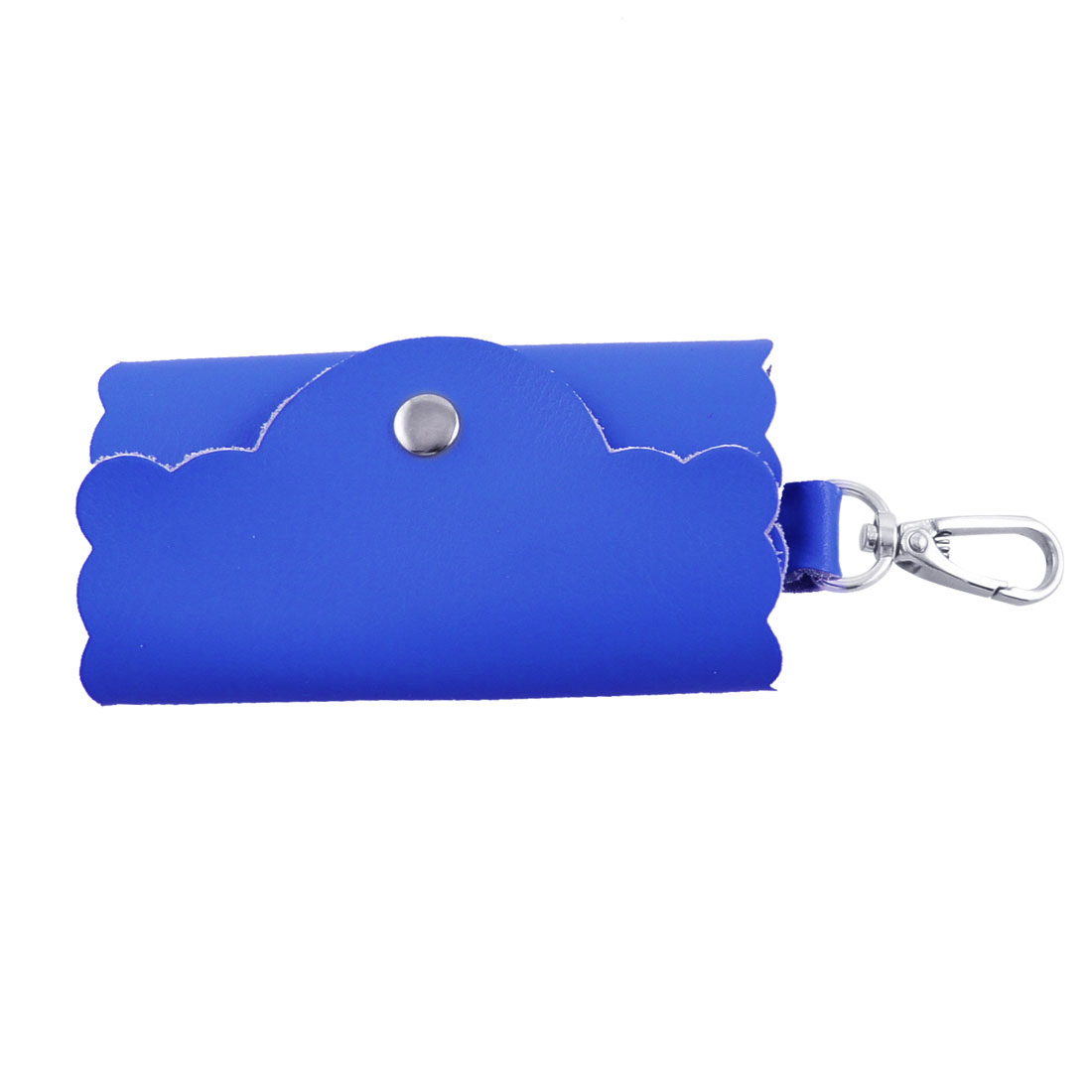 Royal Blue Faux Leather Lychee Pattern Keys Keyring Bag Pouch