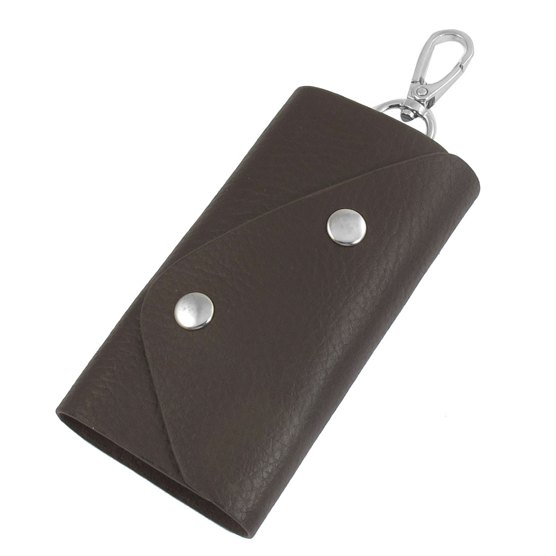 Coffee Color Rectangle Shape Faux Leather Cover Keychain Keyring Holder Bag Case