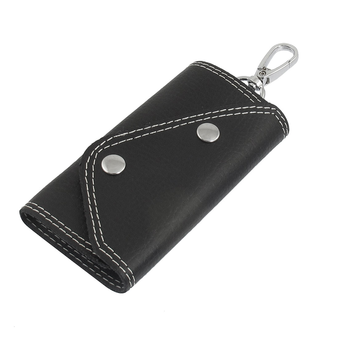 Black Faux Leather Keychain Keyring Holder Carrying Bag Case