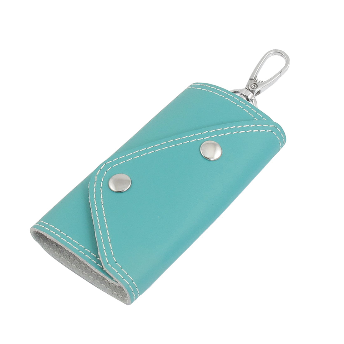 Green Faux Leather Cover Keychain Keyring Holder Bag Case