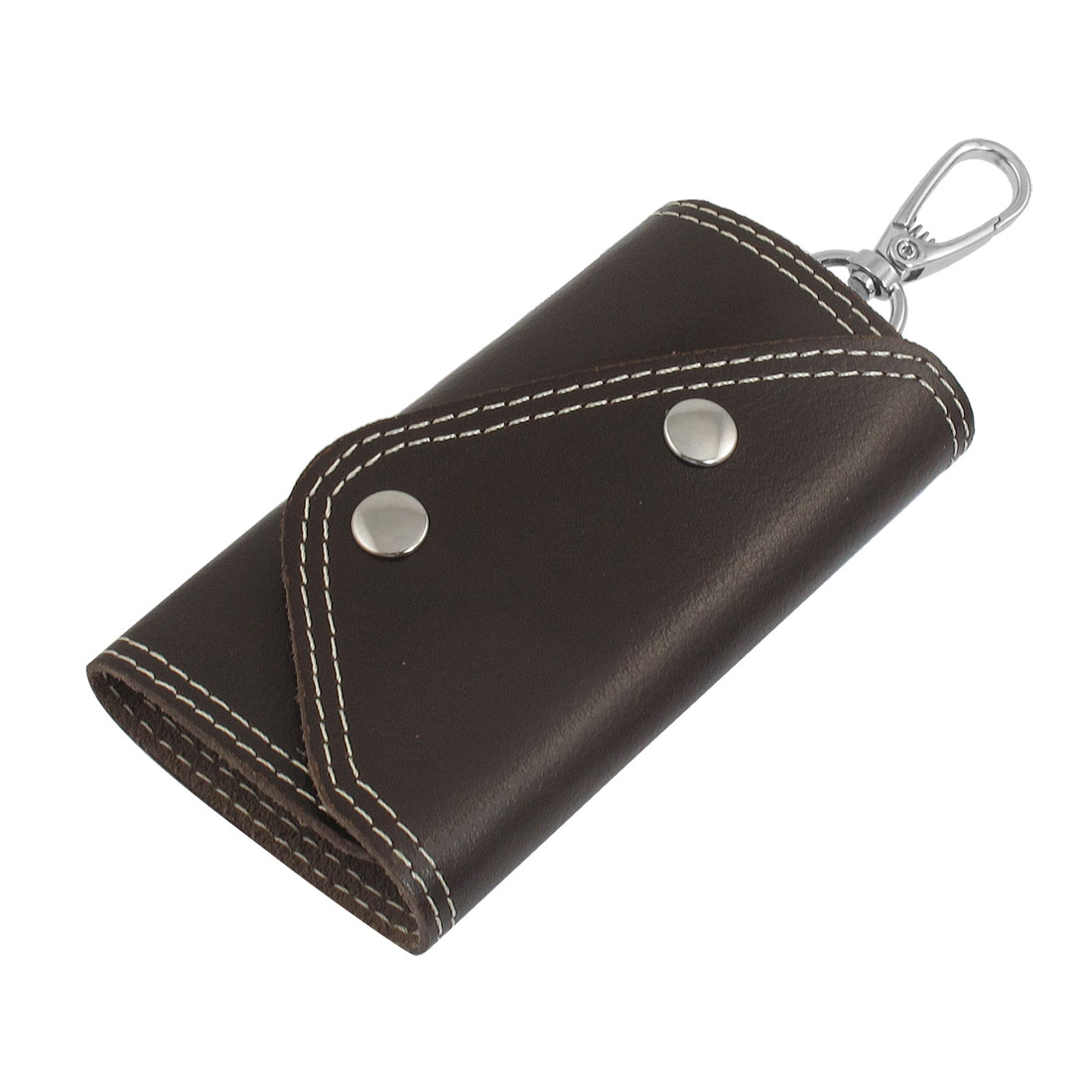 Coffee Color Faux Leather Cover Keychain Keyring Holder Bag Case