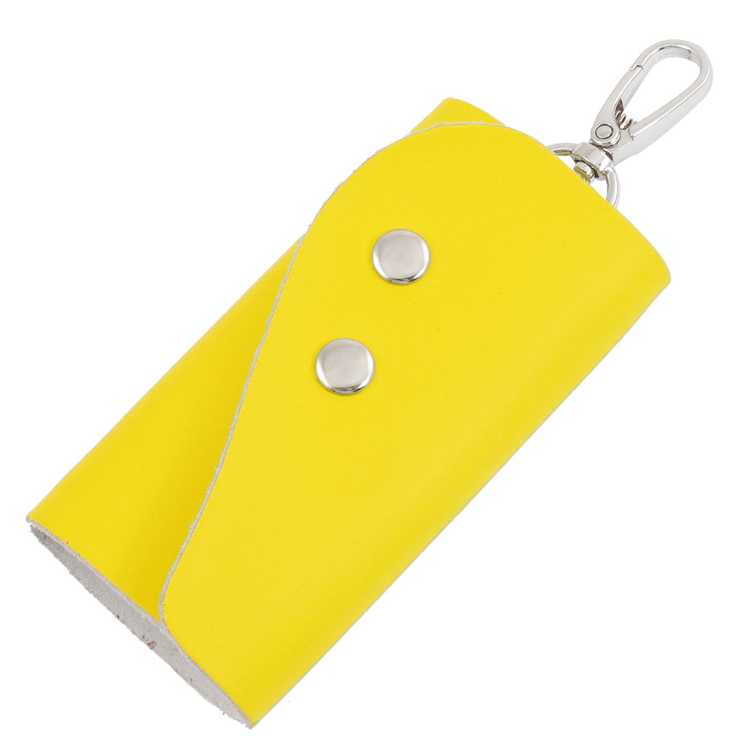 Yellow Faux Leather Rectangle 5 Metal Hooks Key Bag Holder Case Organizer