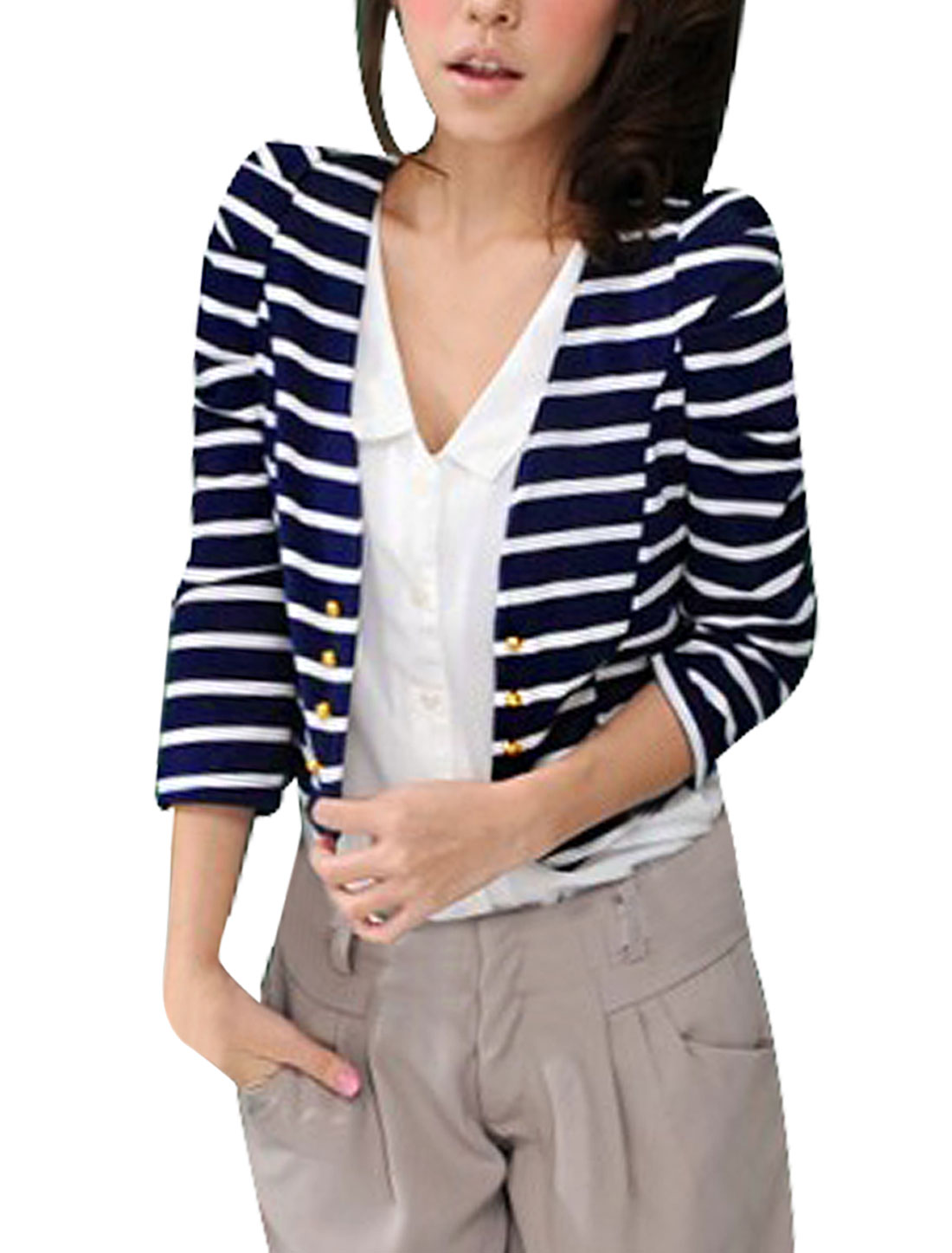 Women Long Sleeve Double Breasted Stripes Cropped Coat Blue XS