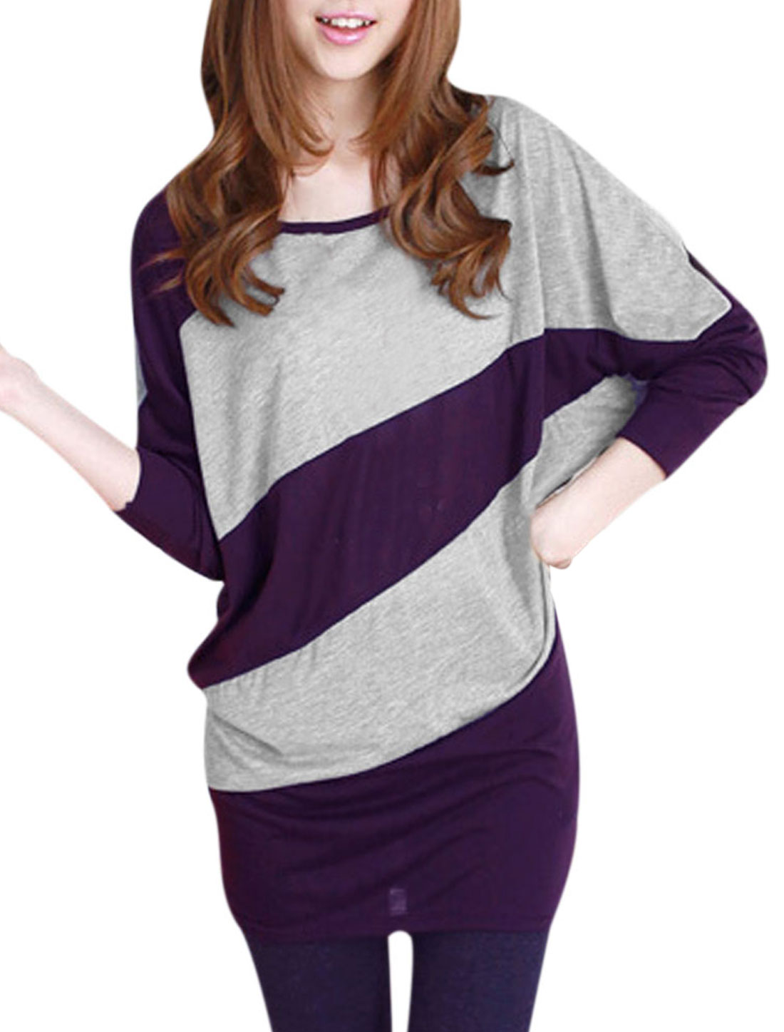 Ladies Scoop Neck Batwing Long Sleeves Broad Stripes Prints Purple Shirt XS
