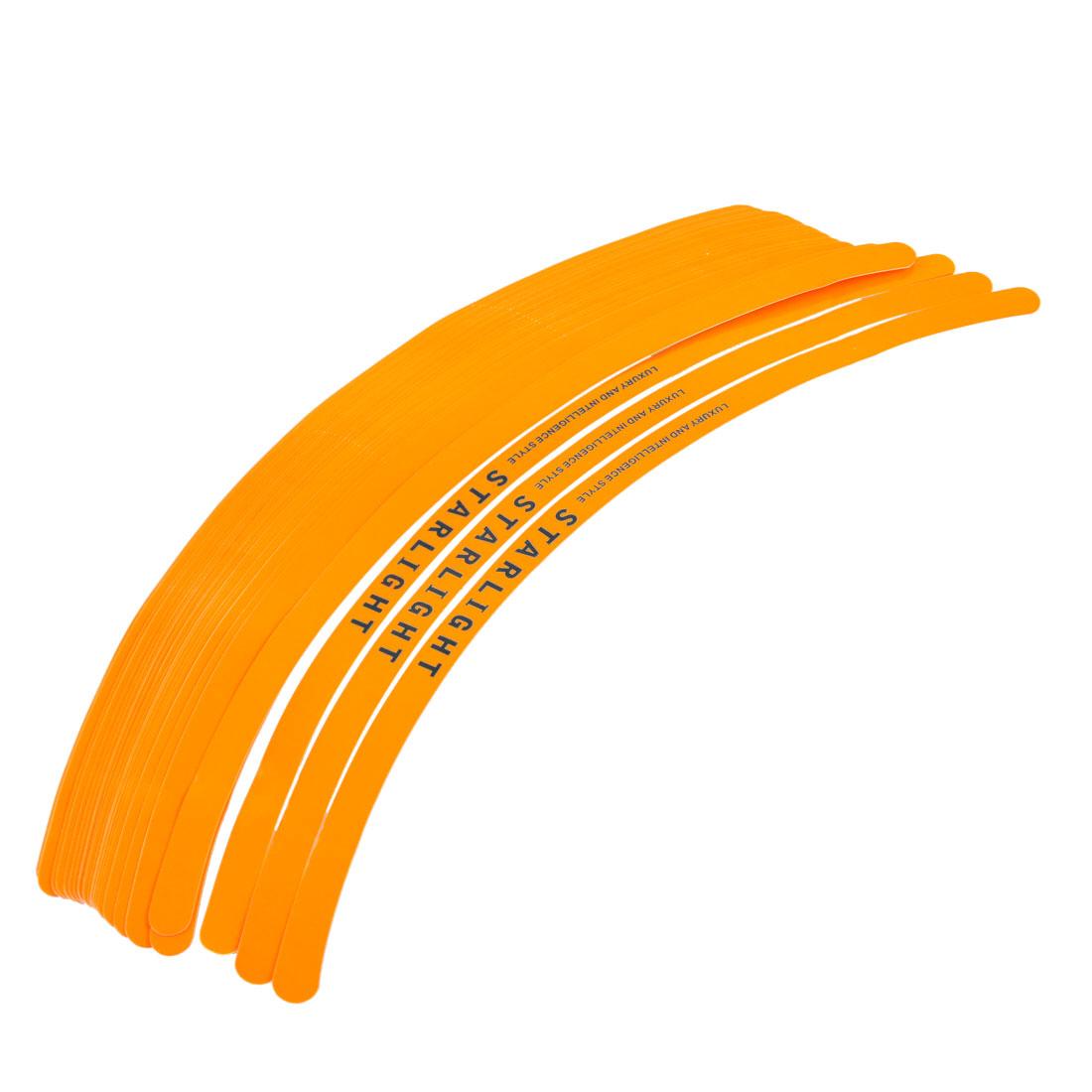 "Car Auto Wheel 11.4"" Long Rim Tape Decorative Stickers Orange 28 Pcs"