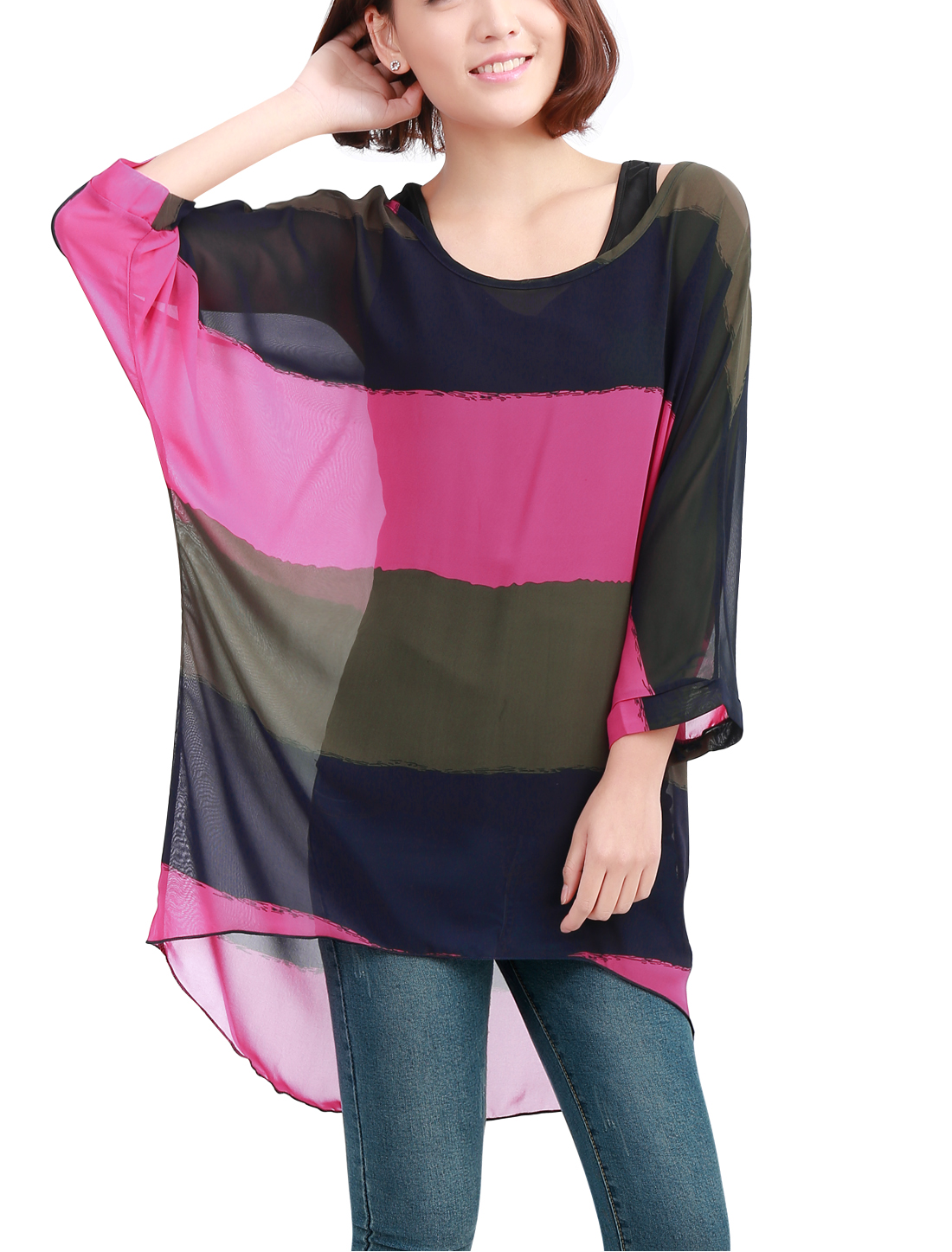 Woman Contrast Color Batwing Sleeve Sheer Fuchsia Blouse w Tank Top S