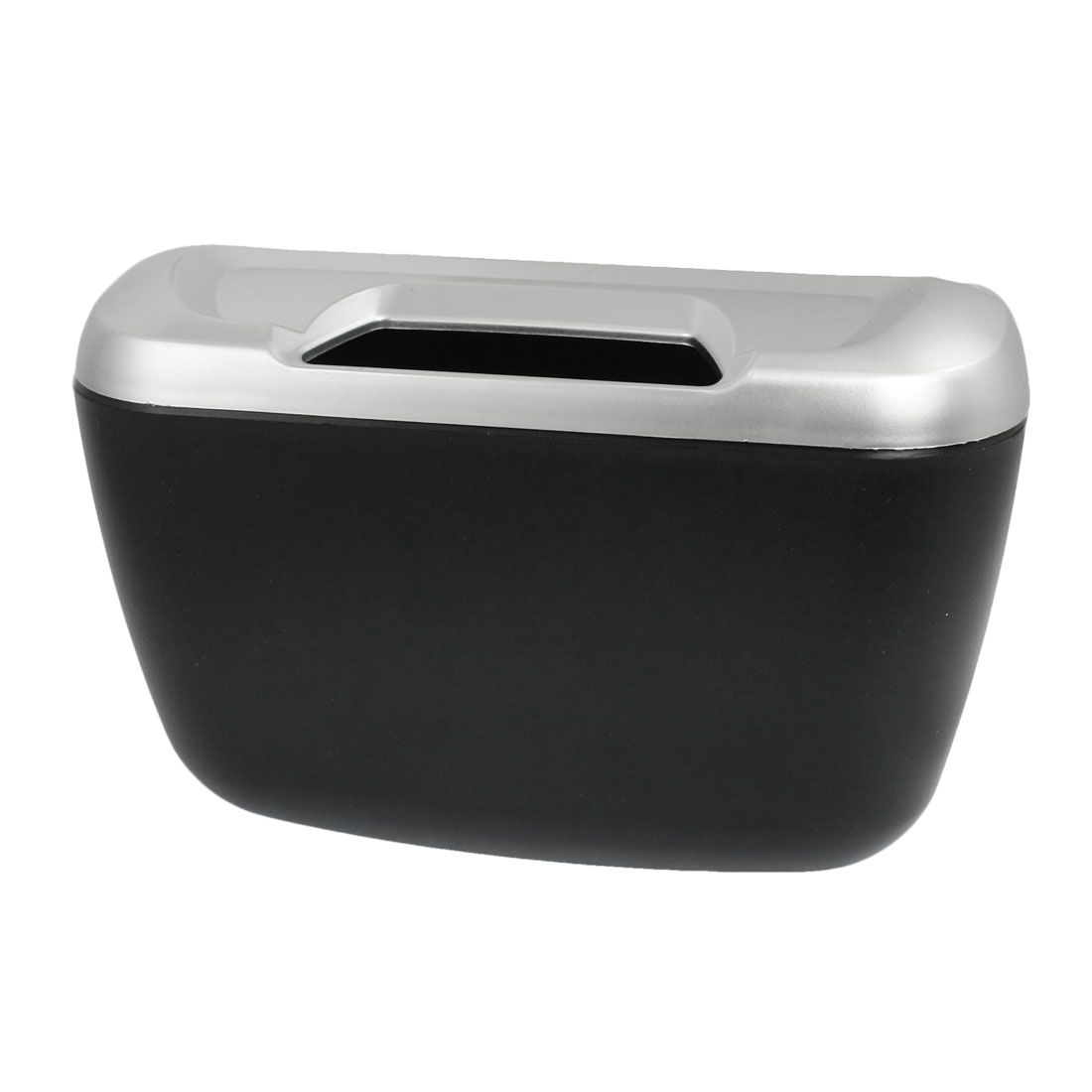 Black Silver Tone Plastic Compact Trash Can Garbage Bin for Car Auto