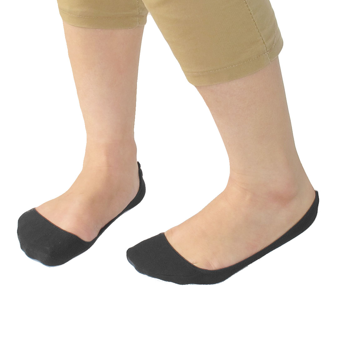 Pair Black Low Cut Elastic Cuff Boat Socks for Women