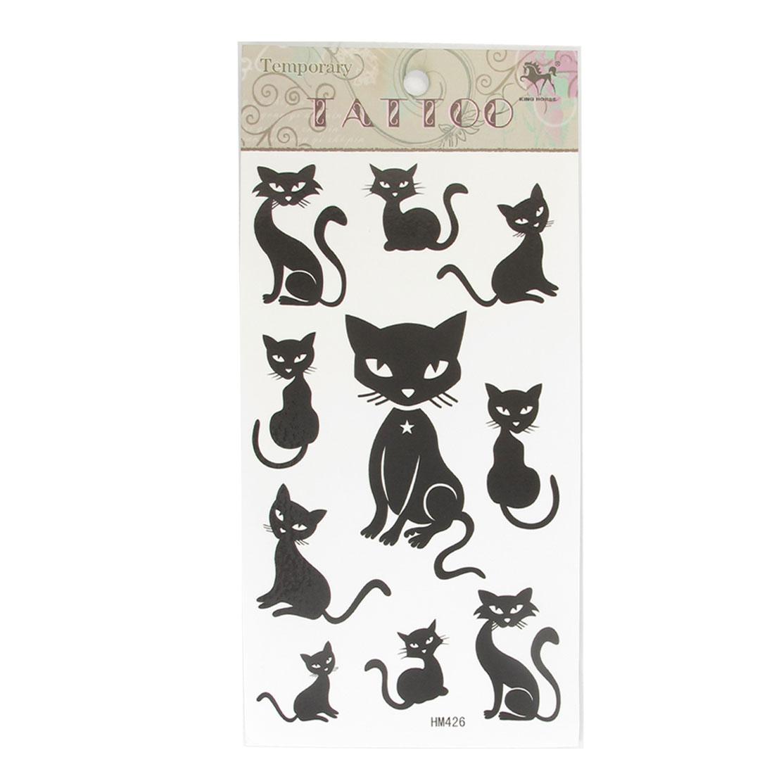 Black Multiple Figure Kitten Prints Transfer Tattos Seal Skin Beauty Decal