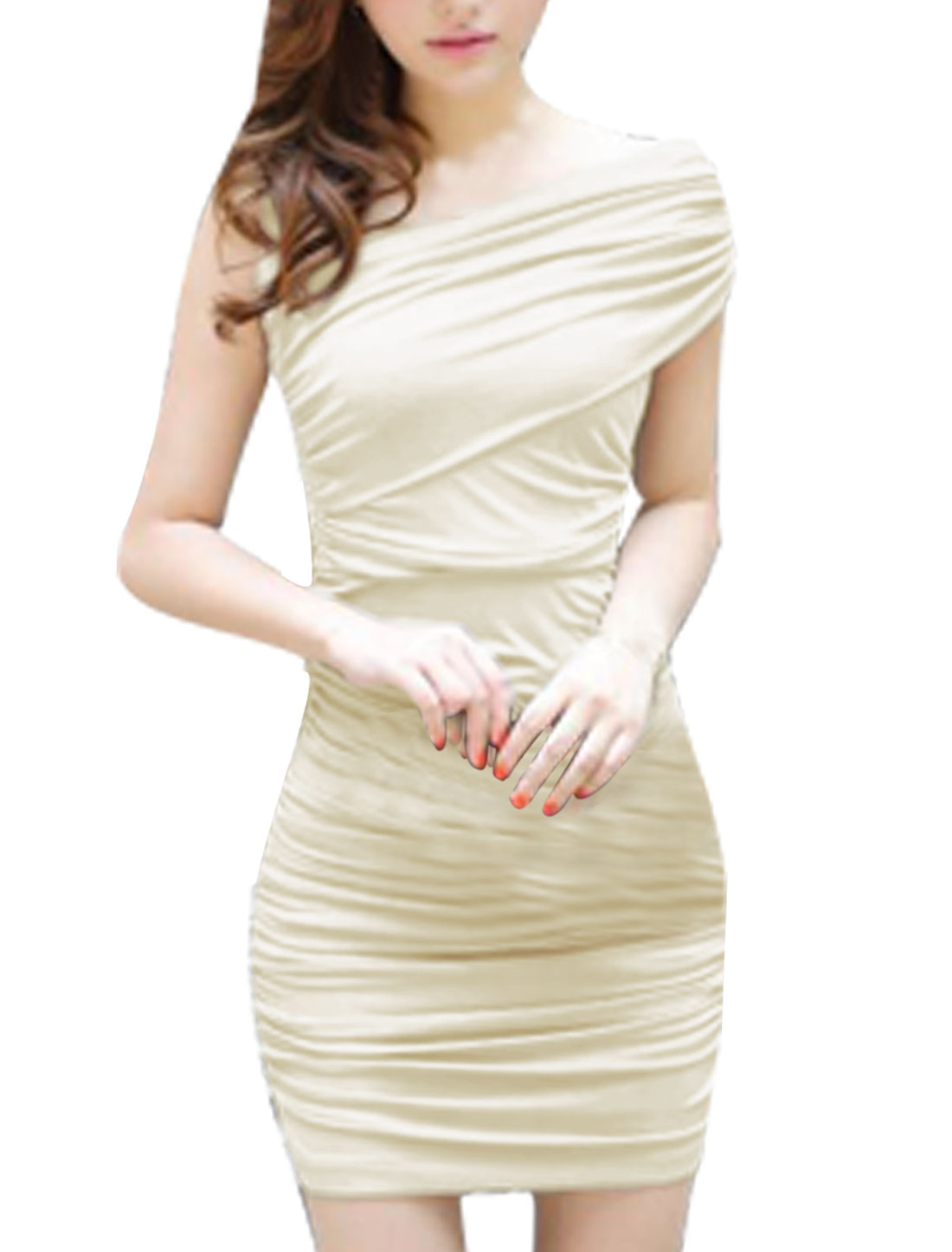 Women Asym Neck Wrapped Chest Elastic Back Stretchy Cocktail Beige Dress XS