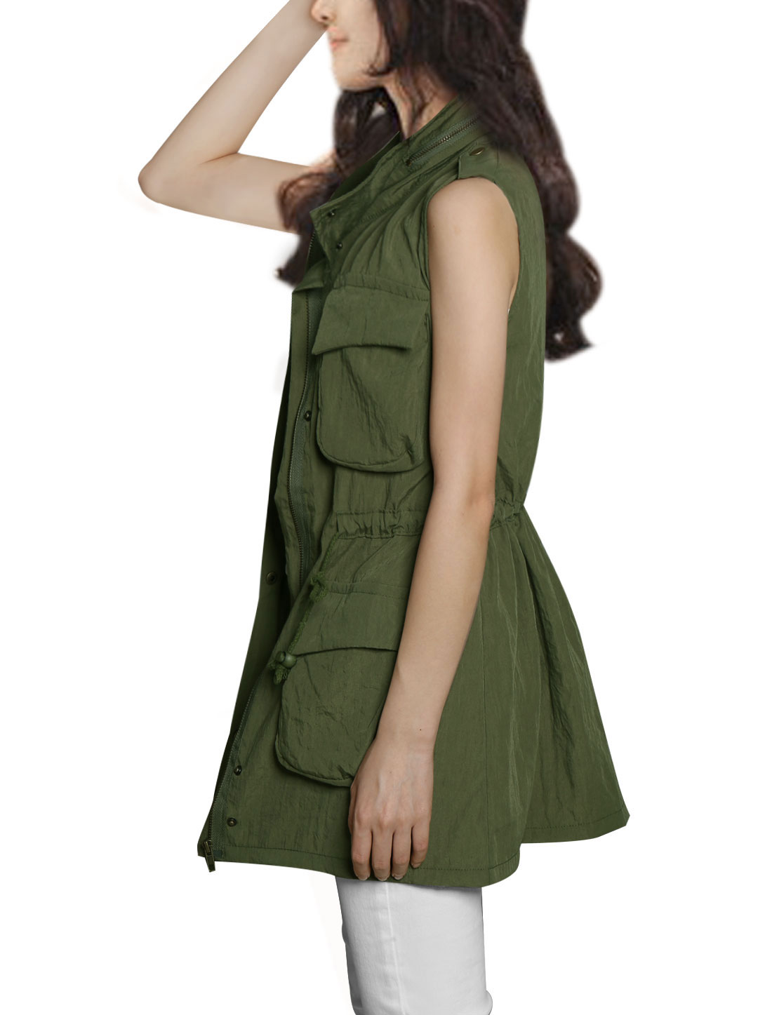 Woman Single Breasted Multi Pockets Button Epaulet Sleevless Vest Army Green S