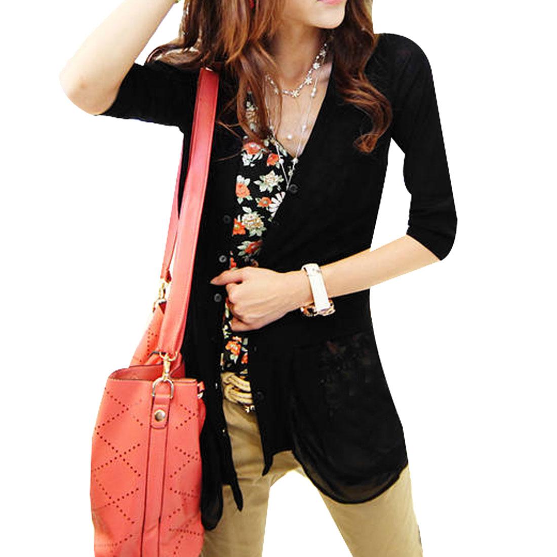 Lady 3/4 Sleeve Front Opening Semi Sheer Irregular Hem Blazer Black XS