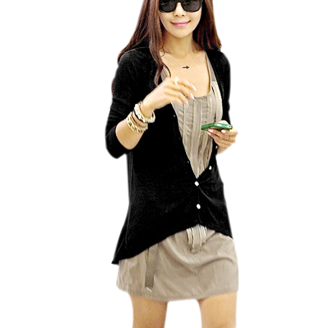 Ladies Black Open Front Single Breasted Long Sleeve Textured Knit Coat XS