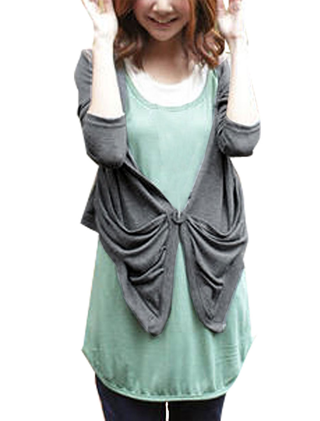 Ladies Drap Collar Scarft Hem Two Pockets Front Grey Knitting Outwear XS