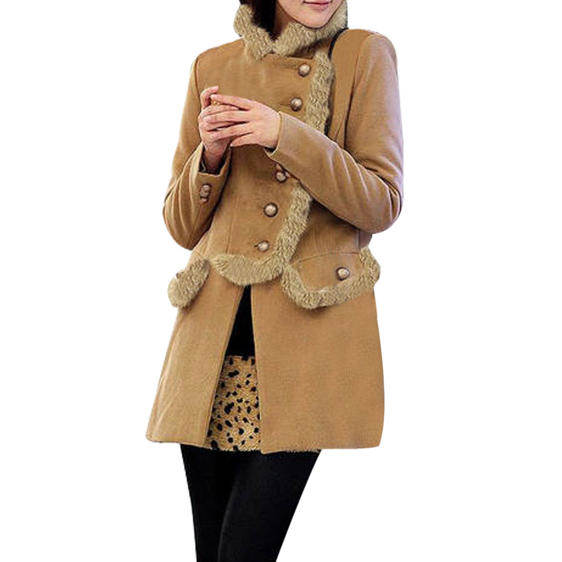 Ladies Camel Plush Stand Neck Long Sleeve Button Up Jacket Overcoat XS