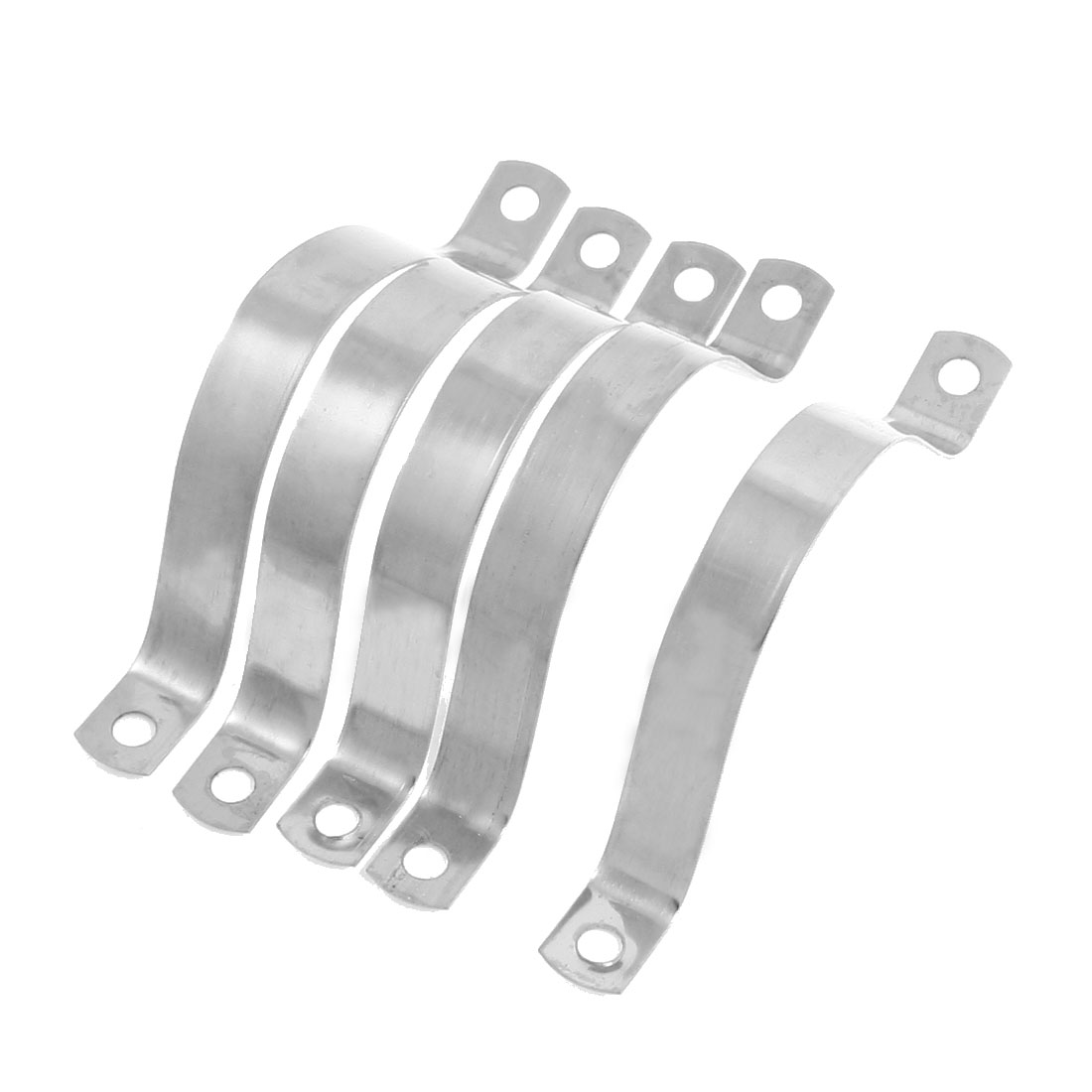 "5 Pcs Silver Tone Stainless Steel Clamp Holder for 1.5"" Diameter Pipe"