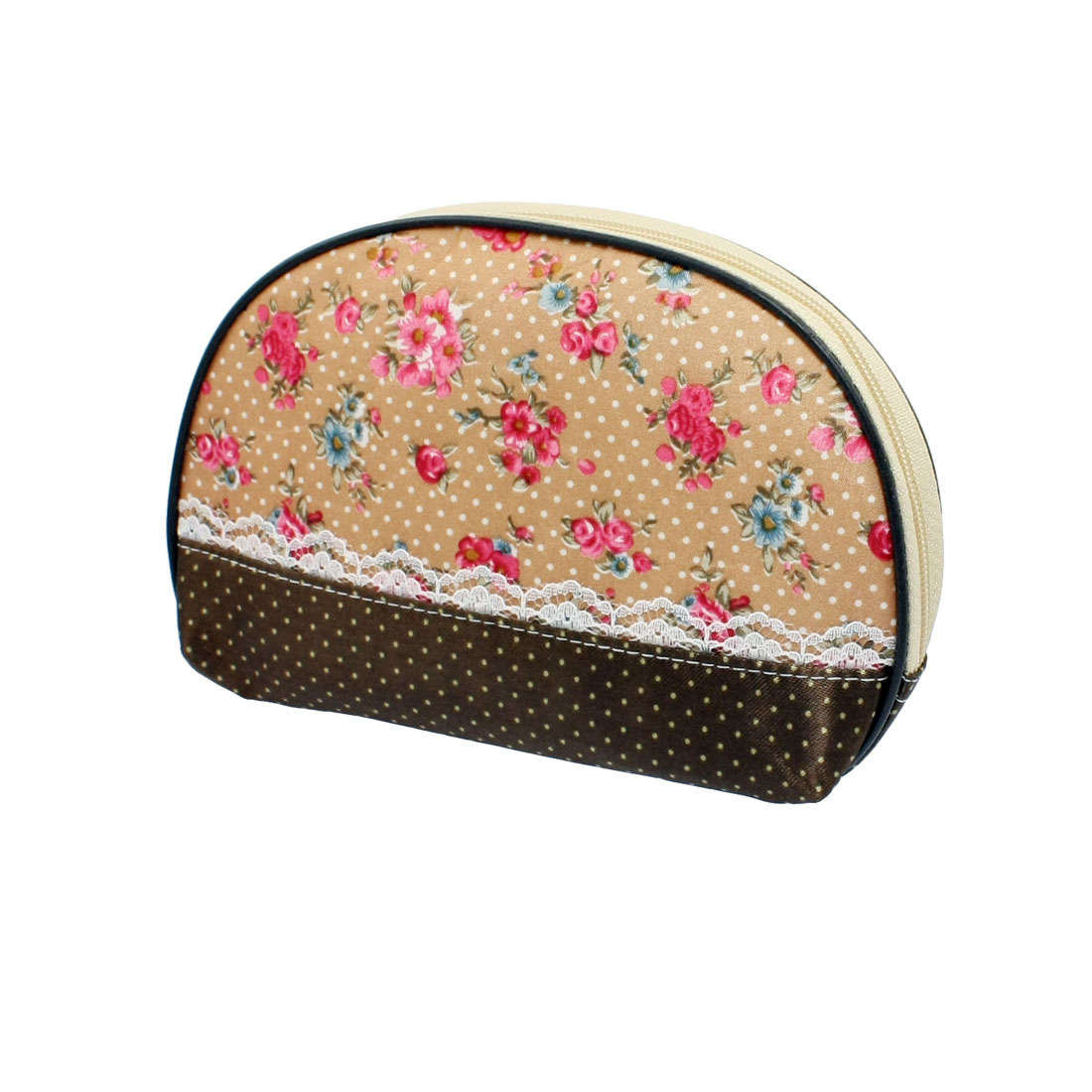 White Dotted Blue Pink Flower Pattern Beige Brown Cosmetic Bag