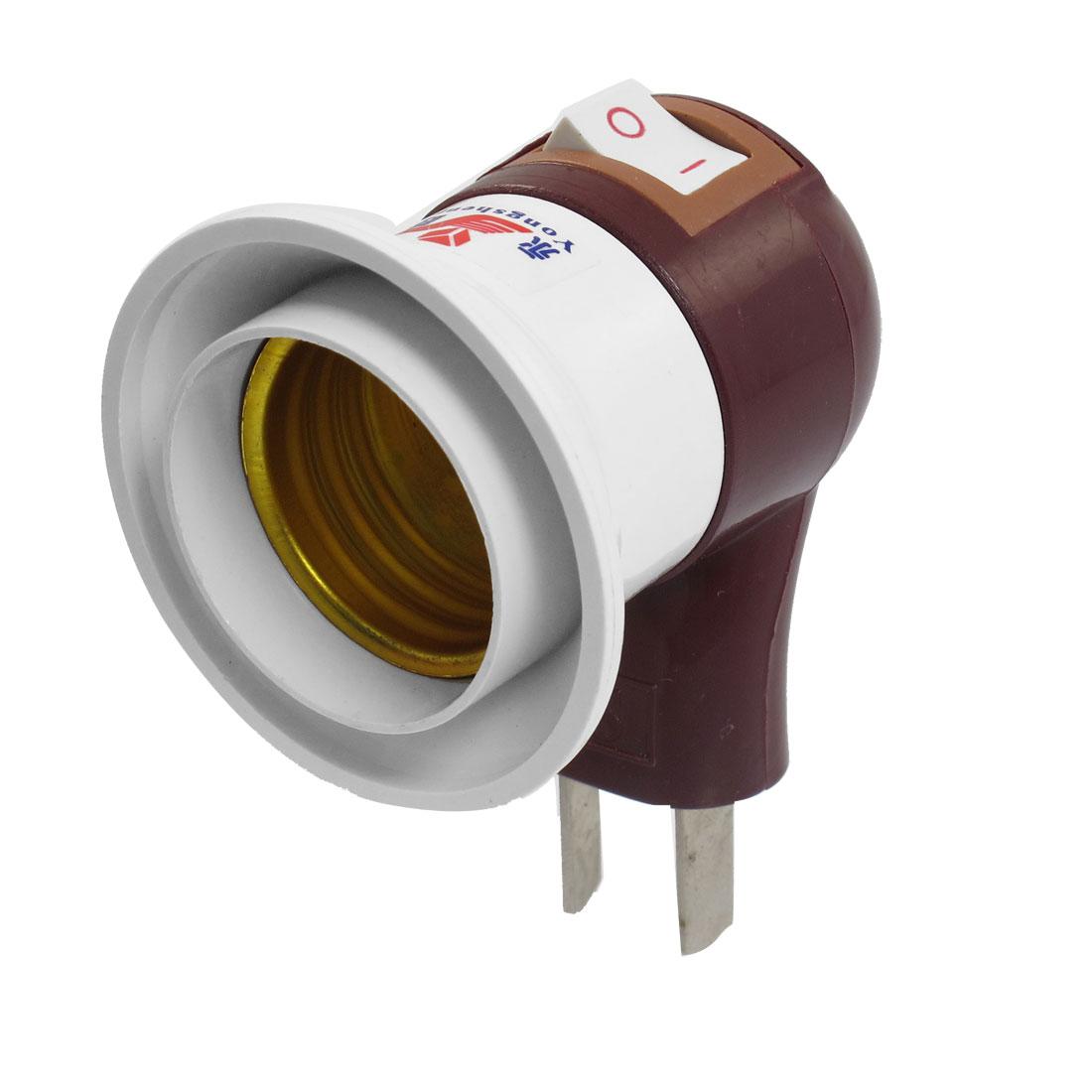 E27 Screw Type Boat Switch Design Light Bulb Lamp Socket Brown White
