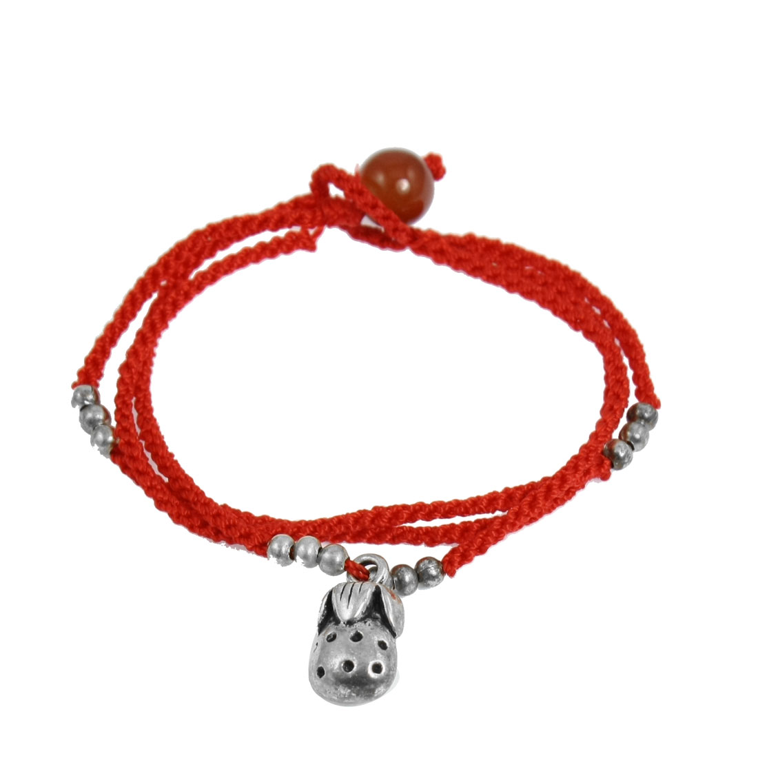 Lady Red Knitted String Metal Beads Decor Three Ring Style Bracelet