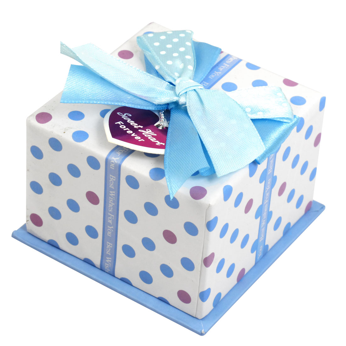 Blue Polyester Bowknot Decor Square Shaped Cardboard Gift Case Box