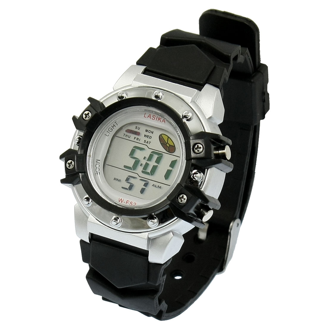 Adjustable Wristband Round Dial Alarm Stopwatch Wrist Watch Black