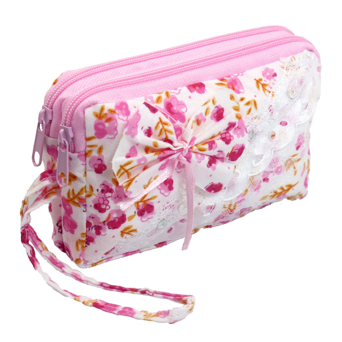Lady Pink White 2 Compartments Paillette Accent Cell Phone Wrist Pouch