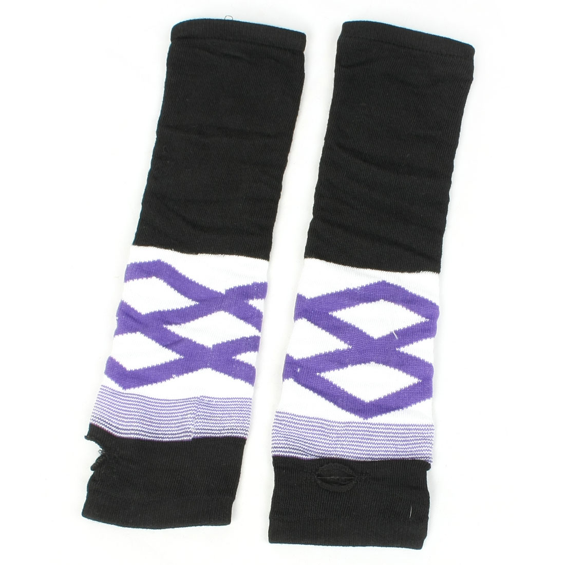 Pair White Purple Rhombus Acrylic Fingerless Arm Warmers Gloves for Women