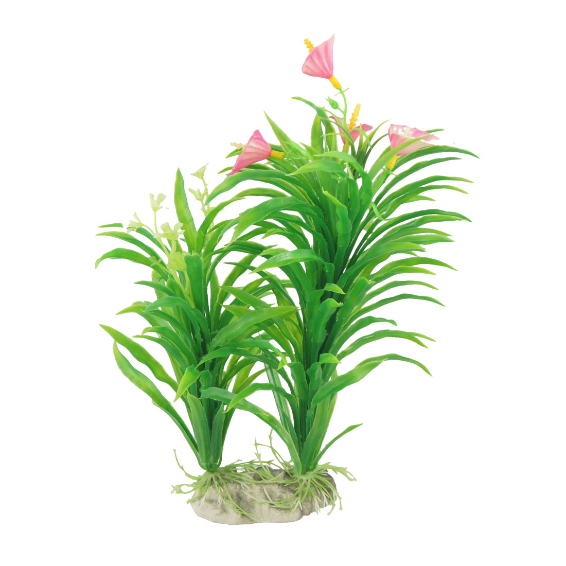 "10.6"" Simulation Pink Flower Green Grasses Aquarium Ornament w Ceramic Base"