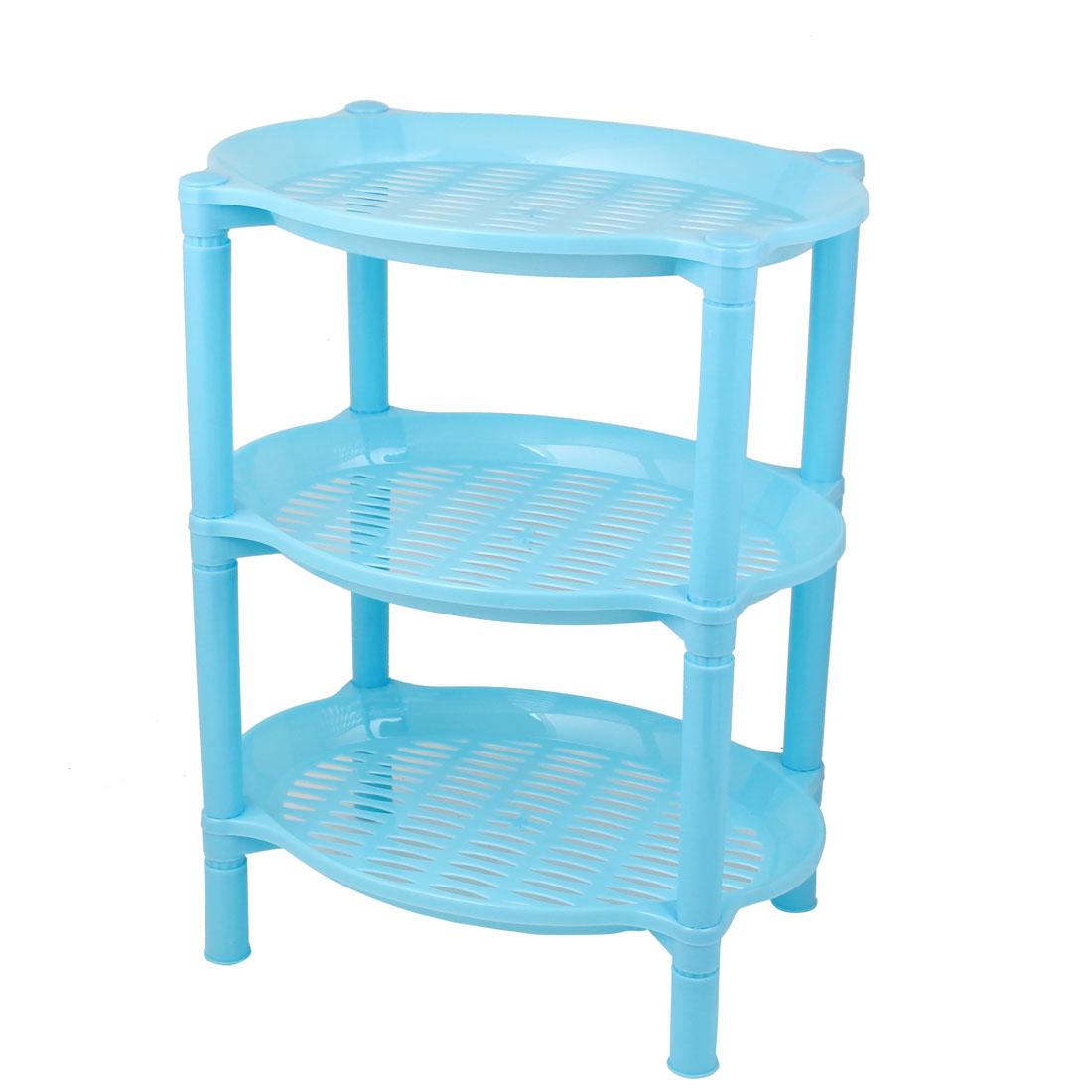 Detachable Three Layer Blue Plastic Mini Shelves Rack Storage