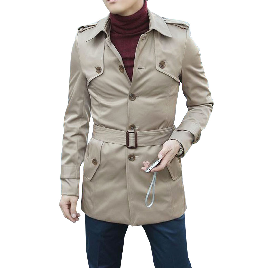 Men Khaki Color Fashion Adjustable Waist Strap Buttons Decor Pockets Jacket S