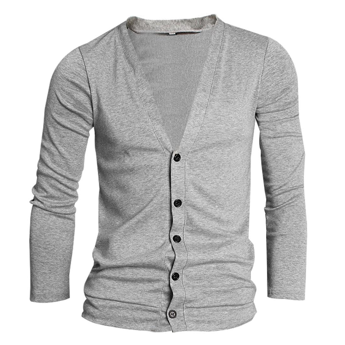 Men Gray Fashion Simple Design Button Down Stretchy Deep V Neckline Cardigan S
