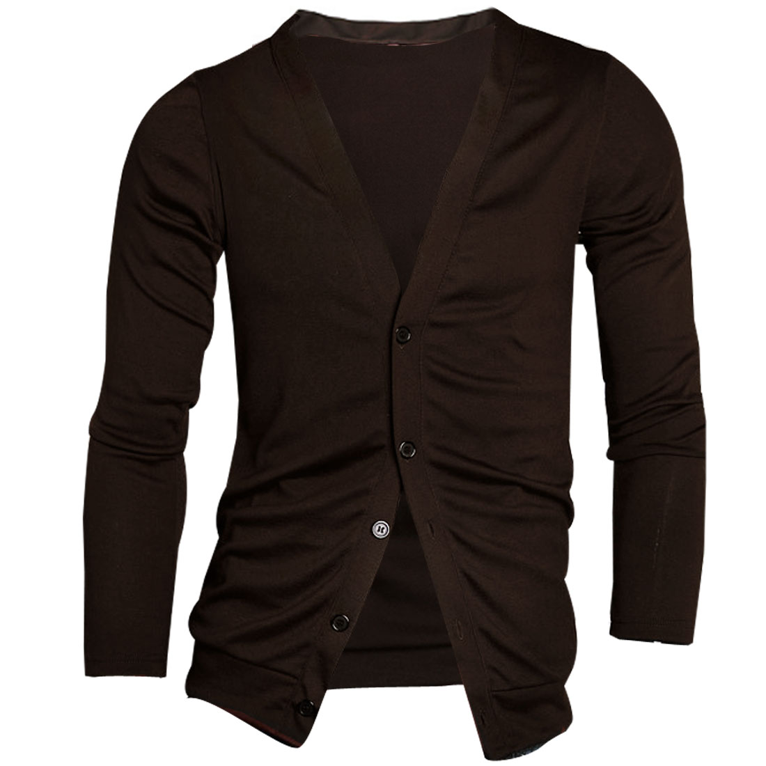 Mens Dark Chocolate Color Button Down Simple Style Stretchy Autumn Fit Cardigan S