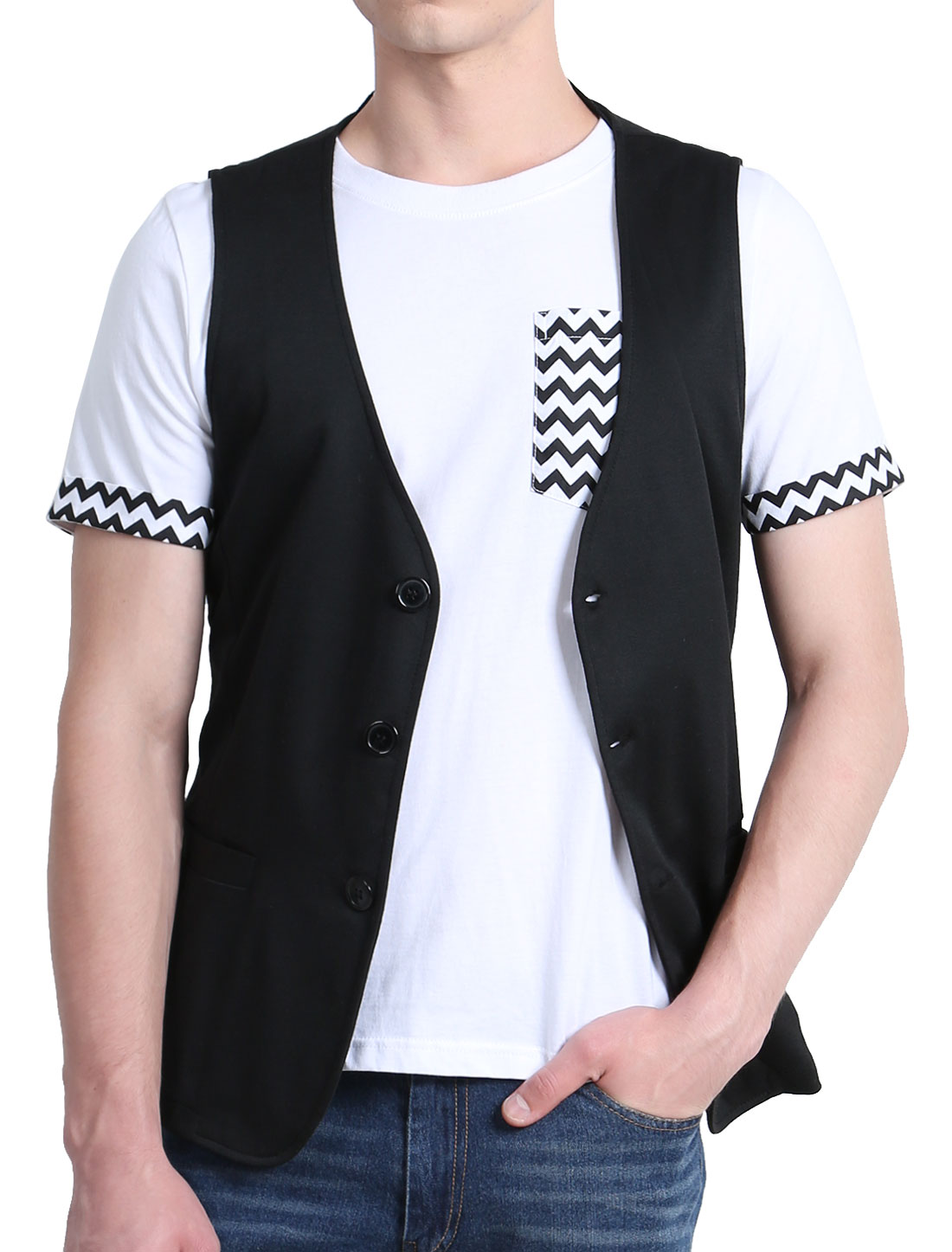 Mens Black Stylish Deep V Neck Sleeveless Three Buttons Front Casual Vest M
