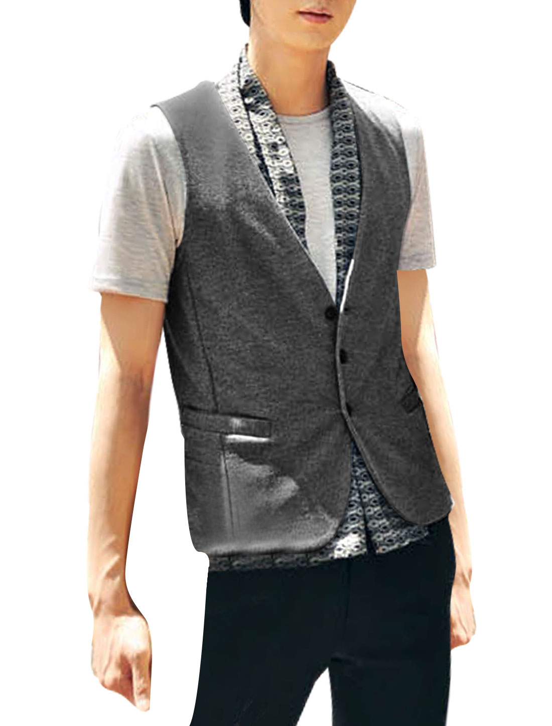 Mens Dark Gray Korean Sleeveless Button Closure Simple Style Slim Vest M